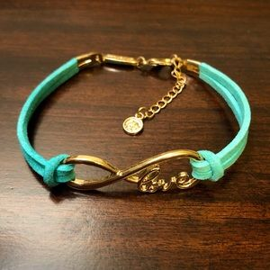 EFFY Love Sea Green Leather Gold Tone Bracelet